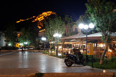 Palomidi Fortress Nafplio Greece. The fortress at night lit at the top of a hill Stock Photo