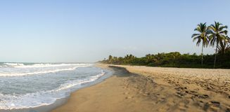 Palomino Beach in Colombia. Sandy beach with ocean Royalty Free Stock Photo