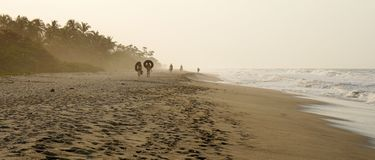 Palomino Beach in Colombia. Sandy beach with ocean Stock Images