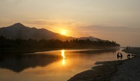 Sunset in Palomino. The Palomino river in northern Colombia with a beautiful sunset royalty free stock images