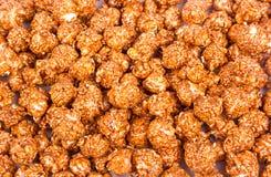 Palomitas cremosas del chocolate Fondos y texturas Visión superior Imagen de archivo libre de regalías