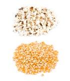 Palomitas de maíz, antes y después del estallido Fotografía de archivo