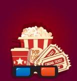 Palomitas de maíz con los boletos del agua de soda y los vidrios 3d historieta Concepto del cine Aislado en fondo rojo Vector Imagenes de archivo