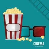 Palomitas de maíz y tira de película de los vidrios del cine 3d Foto de archivo
