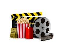 Palomitas de maíz con soda y el equipo de la película Imagen de archivo libre de regalías