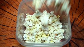 Palomitas frescas que vierten en una caja plástica almacen de metraje de vídeo