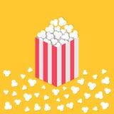 Palomitas haciendo estallar en piso Caja de papel cuadrada de la tira amarilla roja Icono de la noche de película del cine Estilo Imágenes de archivo libres de regalías