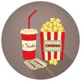 Palomitas, takeaway de la soda y boletos de la película Vector el ejemplo en estilo retro en un fondo oscuro Fotografía de archivo libre de regalías