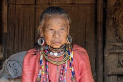 Palong Hill Tribe Woman, Northern Thailand. Old Woman from the Palong tribe with traditional Costume, Chiang Rai, Thailand, Asia royalty free stock photo