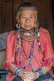 Palong Hill Tribe Woman, Northern Thailand. Old Woman from the Palong tribe with traditional Costume, Chiang Rai, Thailand, Asia stock photography