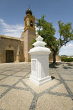 Palos Crew Monument in front of San Jorge M�rtir, The Church of Saint George Martyr, where Christopher Columbus and sailors pray Royalty Free Stock Image