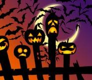PALOS de la cerca de las calabazas del feliz Halloween stock de ilustración
