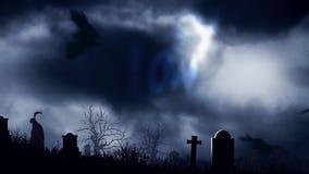Palos del cementerio en el feliz Halloween del claro de luna stock de ilustración