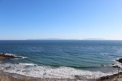 Palos Verdes Cliff Facing Catalina-Eiland Californië stock afbeelding