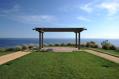 Palos Verdes Pagoda. A pagoda overlooks the Pacific Ocean at Palos Verde California stock image