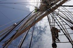 palos y aparejo de la nave Imagen de archivo libre de regalías