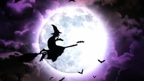 Palos y brujas de Halloween en cielo y nubes púrpuras libre illustration
