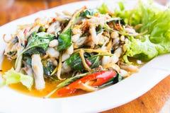 Palourdes de rasoir de Fried Spicy Herbal Vegetables With image stock