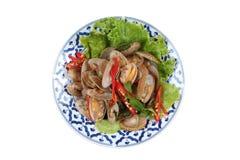Palourdes frites par émoi avec la pâte rôtie de piment Image libre de droits