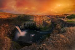 Palouse Falls Under a Dramatic Sky. Stunning sky over Palouse Falls in Washington state stock image