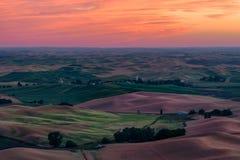 Palouse-Region bei Sonnenuntergang Lizenzfreie Stockfotos