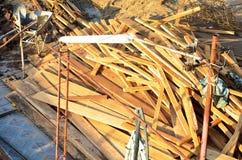 Palowy drewno dla budowa domu w budowie Zdjęcie Royalty Free