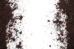 Palowy rozsypisko odizolowywający na białym tle z kopii przestrzenią dla twój teksta ziemia Odgórny widok obraz stock