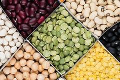 Palpite le fond de nourriture, assortiment - légumineuse, haricots nains, les pois, lentilles dans la vue supérieure de plan rapp Image stock