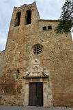 Pals. Cathedral  in the  small medieval  mediterranean village of Pals , near the coast of Costa Brava., Spain Stock Photography