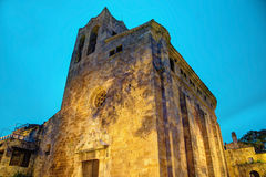 Pals, Costa Brava, Spain: Medieval Old Town. Pals, Costa Brava, Spain:view of the famous cathedral by night Royalty Free Stock Image