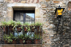 Pals. Detail of facade  in the  small medieval  mediterranean village of Pals , near the coast of Costa Brava., Spain Stock Photography