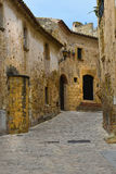 Pals. Street in the  small medieval  mediterranean village of Pals , near the coast of Costa Brava., Spain Stock Photography