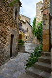 Pals. Street in the  small medieval  mediterranean village of Pals , near the coast of Costa Brava., Spain Stock Images