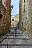 Pals. Street in the  small medieval  mediterranean village of Pals , near the coast of Costa Brava., Spain Royalty Free Stock Images