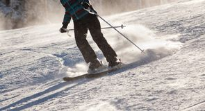 PALTINIS, ROMANIA - JANUARY 24, 2018: Unidentified skier on ski slope on January 24, 2018 in Paltinis, one of the oldest ski stock photos