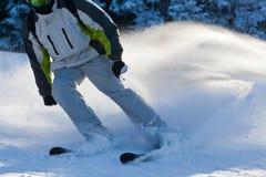 PALTINIS RUMÄNIEN - JANUARI 24, 2018: Den oidentifierade skidåkaren skidar på lutningen på Januari 24, 2018 i Paltinis, en av de  arkivbild