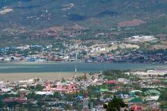 Palu Landscape view to broken brige stock images