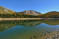 Palu lake in autumn - Landscape of Valmalenco, Valtellina, Italy. Palu lake in autumn - Mountains of Valmalenco, Valtellina, Italy Stock Photo