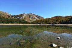 Palu sjö i höst - berg av Valmalenco, Valtellina, Italien Royaltyfri Foto