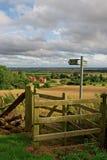 Paludi di Lincolnshire vedute da una collina nei Wolds immagini stock libere da diritti