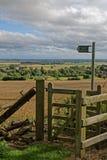 Paludi di Lincolnshire vedute da una collina nei Wolds immagini stock