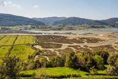 Paludi nella riserva di biosfera di Urdaibai fotografie stock libere da diritti
