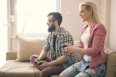 Palying video games Royalty Free Stock Image