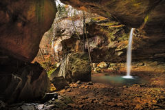 Pam`s Grotto Waterfall. In Arkansas during the spring Stock Image