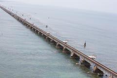 Pamban桥梁是连接Rameswaram镇班本岛的到大陆印度的一座铁路桥 打开2月24日 库存图片