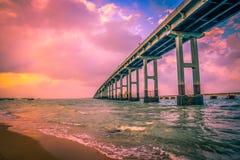 Pamban Bridge, Rameswaram. Pamban bridge connects the town of Rameswaram on Pamban Island to mainland India. It was India`s first sea bridge and second longest Royalty Free Stock Photo