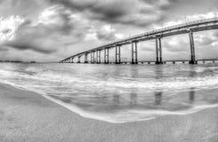Pamban bridge,Rameswaram. It was India`s first sea bridge. It is the second longest sea bridge in India Stock Photo