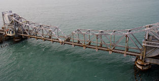 Pamban Railway Bridge across the Indian Ocean. Pamban Railway Bridge was built across the Palk Strait in Indian ocean, to join the Indian Mainland and Stock Photography