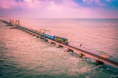Pamban Railway Bridge. Connects the town of Rameswaram on Pamban Island to mainland India. It was India`s first sea bridge and second longest in India Royalty Free Stock Photography