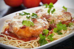 Pamesan chicken with spaghetti pasta. Breaded parmesan chicken with melted cheese and tomato sauce served over spaghetti pasta Royalty Free Stock Photos